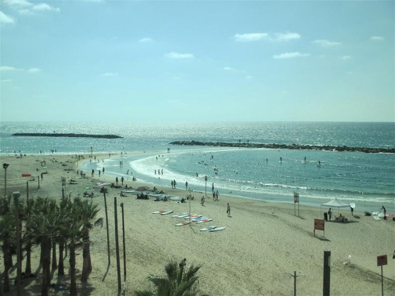 Vista del mar desde la cafetería del Hotel Herods (Tel Aviv) donde me hospedé.