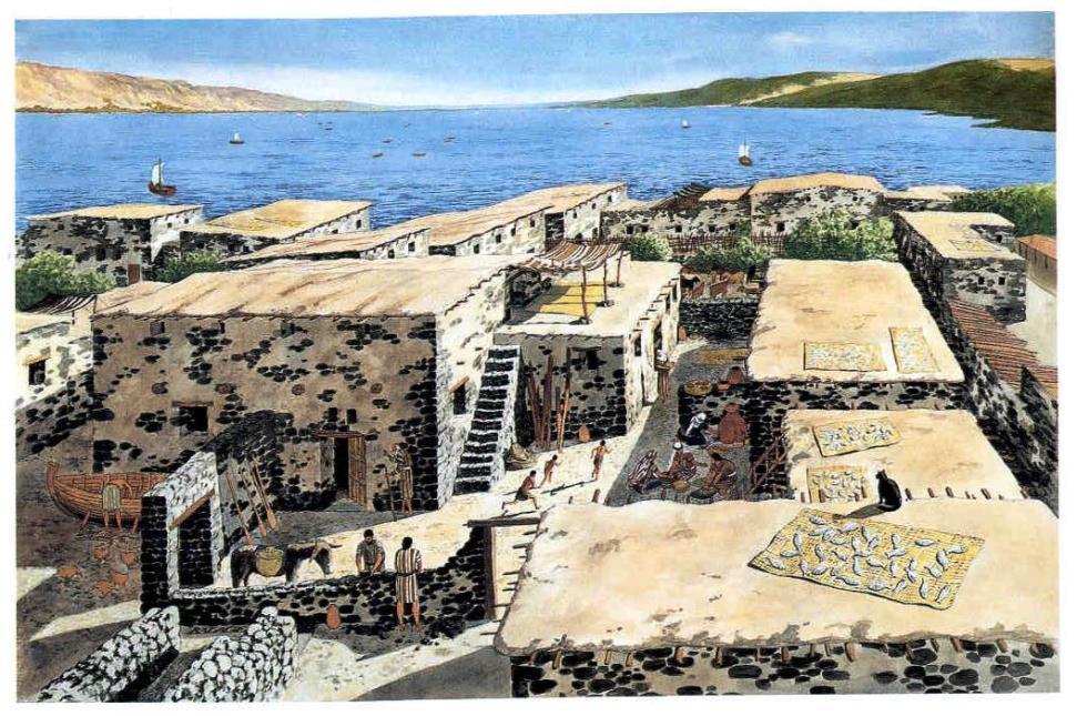 Otra reconstrucción de Capernaum, en la época de Cristo.