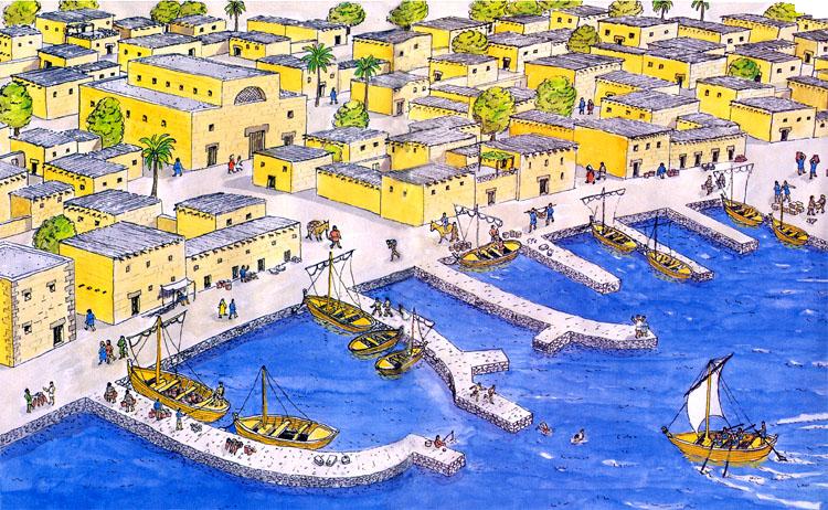 Reconstrucción gráfica de Capernaum, en la época de Jesús.